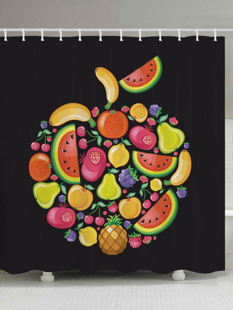 Cartoon Fruits Pattern Fabric Bathroom Shower Curtain - BLACK W71 INCH * L79 INCH