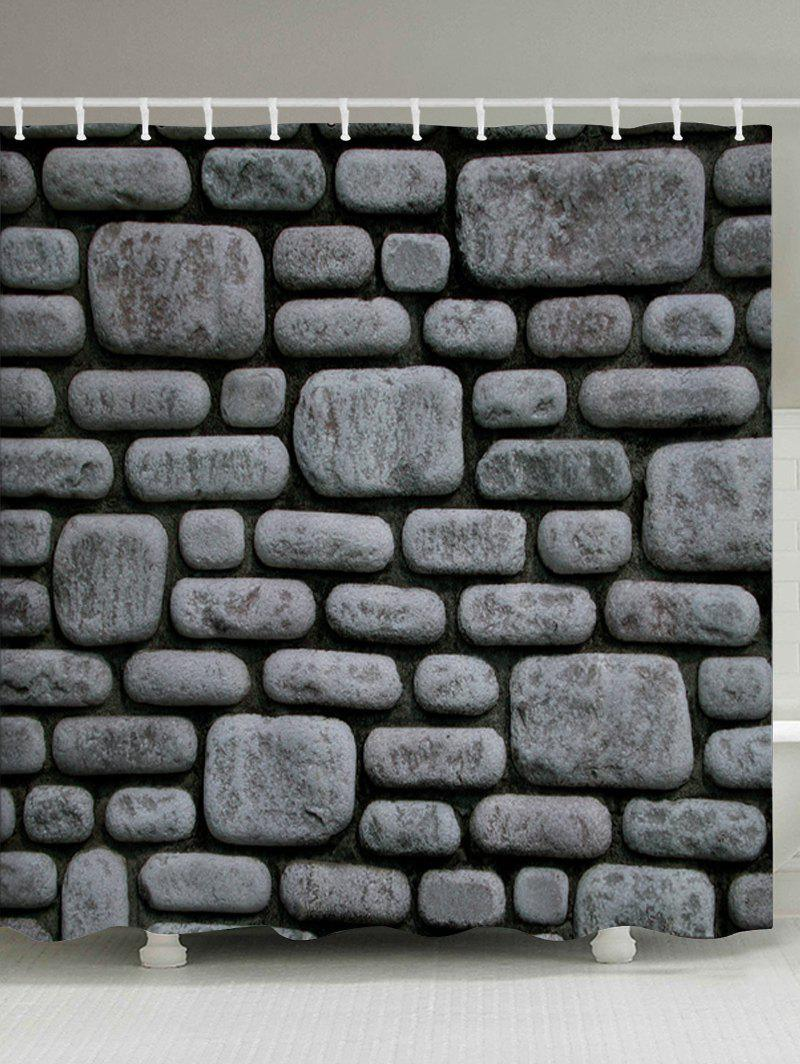 Stone Brick Wall Pattern Fabric Bathroom Shower Curtain - DEEP GRAY W71 INCH * L71 INCH