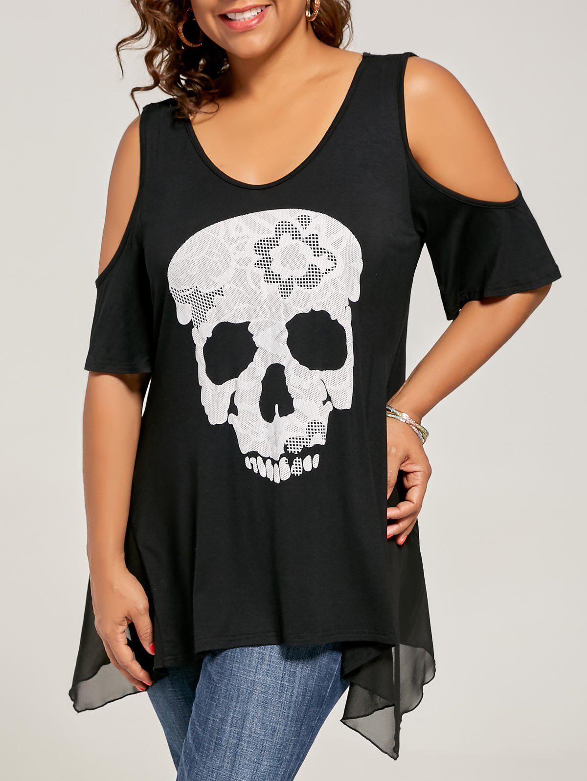 best prices new authentic attractive price Plus Size Skull Cold Shoulder Top