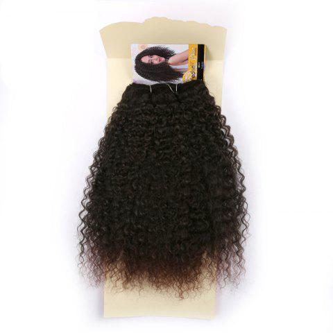 Fluffy Medium Afro Kinky Curly Synthetic Hair Weft - DEEP BROWN