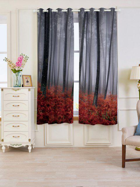 2 Pcs Forest Maple Leaf Blackout Window Curtains - RED W53 INCH * L63 INCH