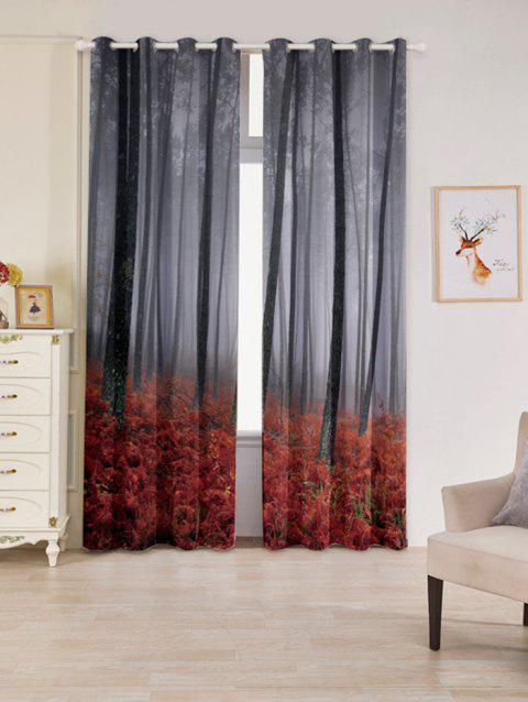 2 Pcs Forest Maple Leaf Blackout Window Curtains - RED W53 INCH * L96.5 INCH