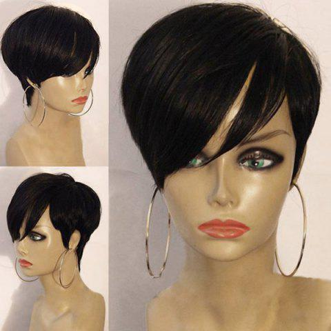 Short Layered Oblique Bang Straight Synthetic Wig - BLACK