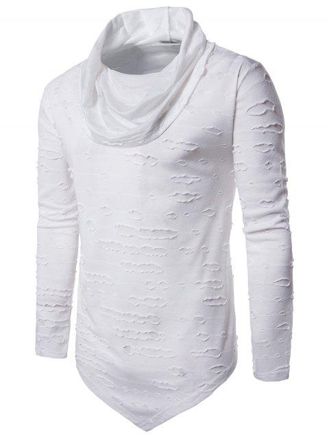 Distressed Triangle Bottom Long Sleeve T-shirt - WHITE L