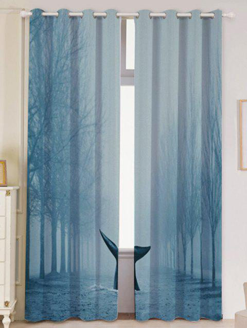 Mist Whale Blackout Screen 2 Pieces Window Curtain - LIGHT BLUE W53 INCH * L96.5 INCH
