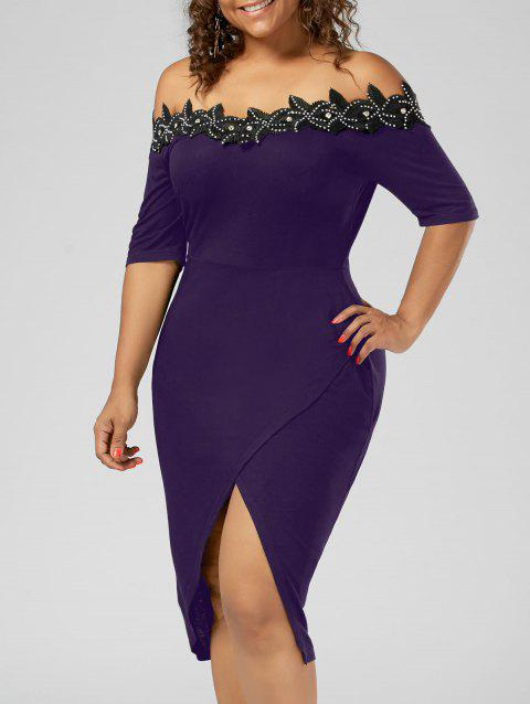Plus Size Applique Trim Pencil Dress - PURPLE 5XL