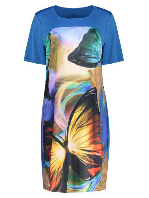 Butterfly Printed Plus Size Casual Tee Dress - BLUE 5XL