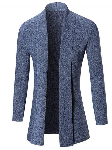 Heathered Shawl Collar Open Front Cardigan - BLUE M