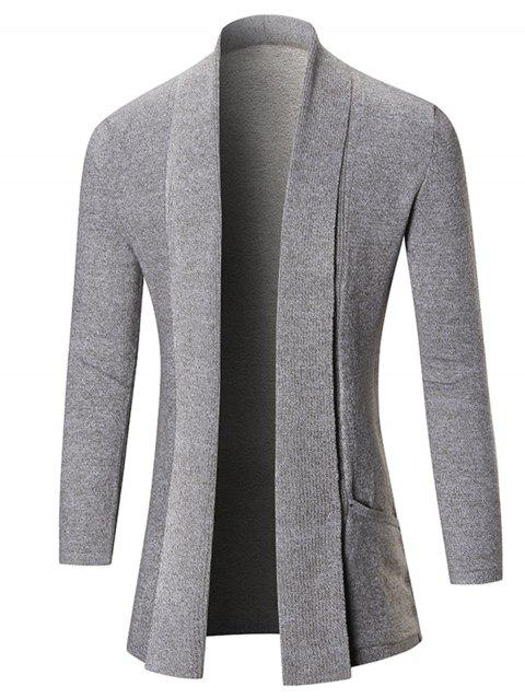 Heathered Shawl Collar Open Front Cardigan - LIGHT GRAY M
