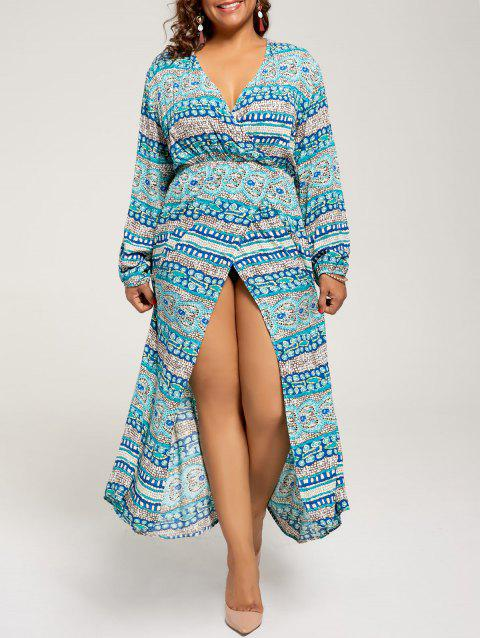 Plus Size Long Sleeve Maxi Bohemian Dress - LAKE BLUE 5XL