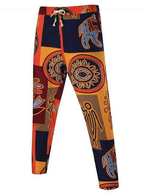 Tribal Print Patchwork Drawstring Pants - COLORMIX 6XL