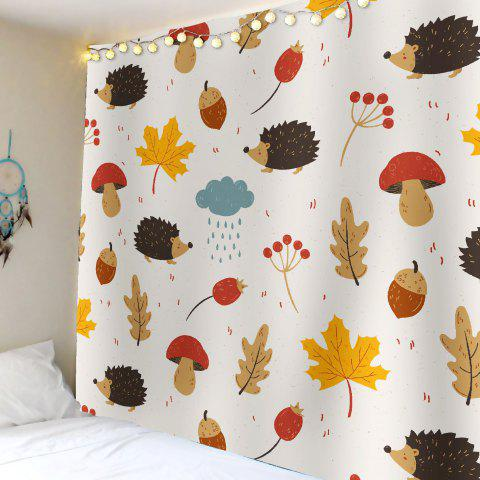 Leaf Hedgehog Waterproof Wall Art Tapestry - Kaki W79 INCH * L59 INCH