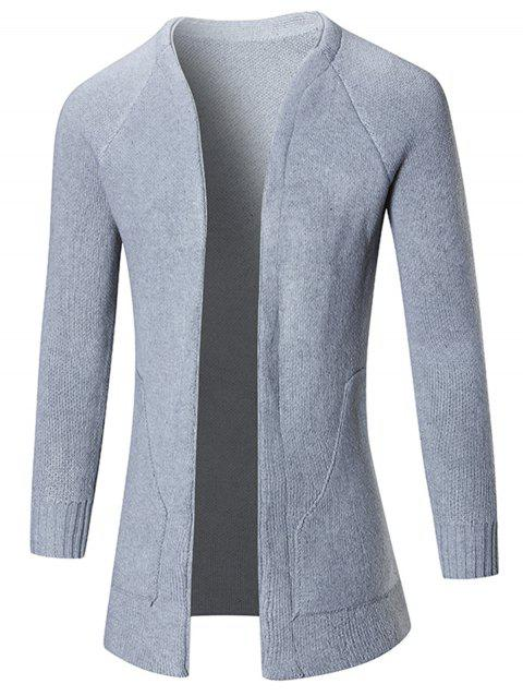 Plain Raglan Sleeve Open Front Cardigan - GRAY 2XL