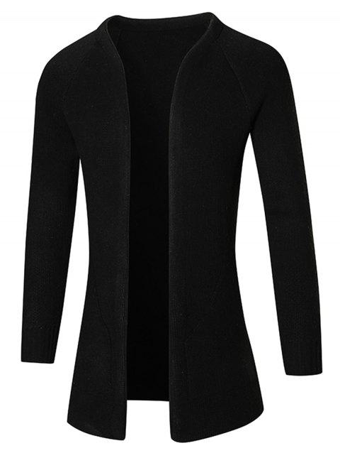 Plain Raglan Sleeve Open Front Cardigan - BLACK M