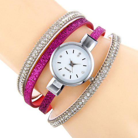 Rhinestoned Faux Leather Bracelet Watch - TUTTI FRUTTI