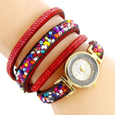 Rhinestone Beaded Bracelet Watch - RED