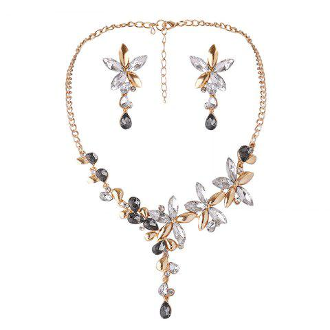Faux Crystal Flower Necklace with Earring Set - WHITE