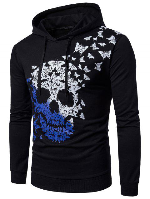 Butterfly and Ombre Skull Print Long Sleeve Hoodie - BLACK 2XL