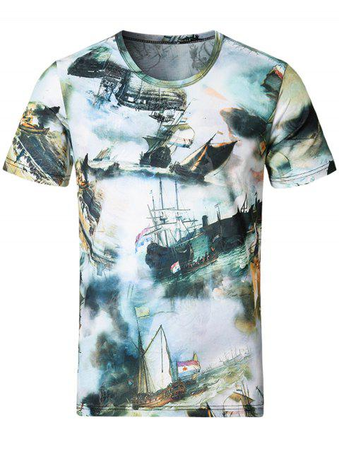 Short Sleeve Sailing Ship Printed Tee - COLORMIX 4XL