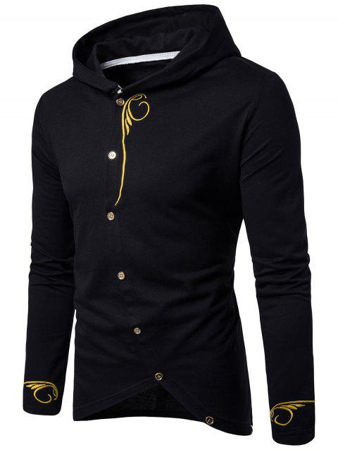 Oblique Buttons Design Embroidered Long Sleeve T-shirt - BLACK XL