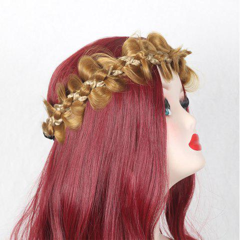 Colormix Bowknot Long Braided Headband - GOLD BROWN