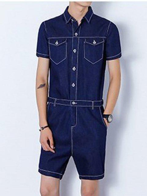 Back Zipper Half Button Up Denim Romper - DEEP BLUE XL
