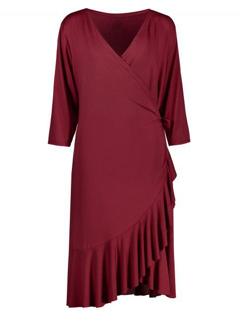 Plus Size Flounce Mermaid Wrap Dress - WINE RED 4XL