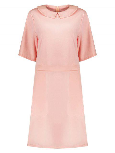 Plus Size Collared A Line Dress with Pockets - PINK 5XL