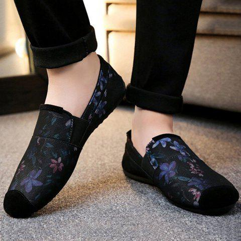 Flower Printed Casual Slip On Sneakers - Pourpre 42