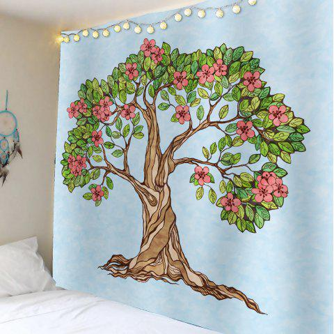 Tree of Life Floral Waterproof Wall Tapestry - LIGHT BLUE W59 INCH * L51 INCH