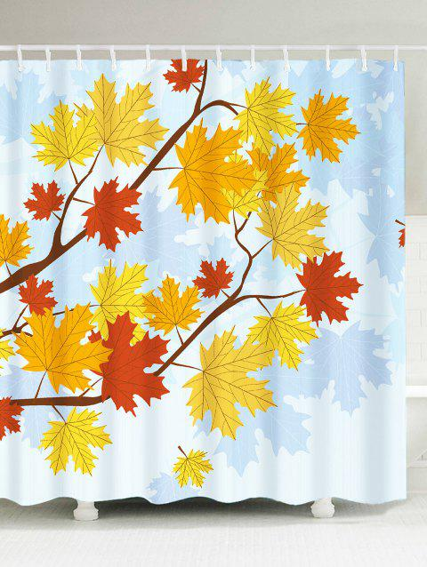 Waterproof Maple Leaf Print Shower Curtain - COLORFUL W71 INCH * L71 INCH