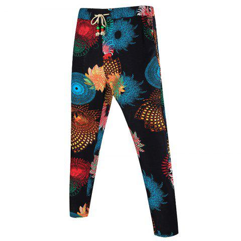 Kaleidoscope Print Pocket Drawstring Waist Pants - COLORMIX 2XL