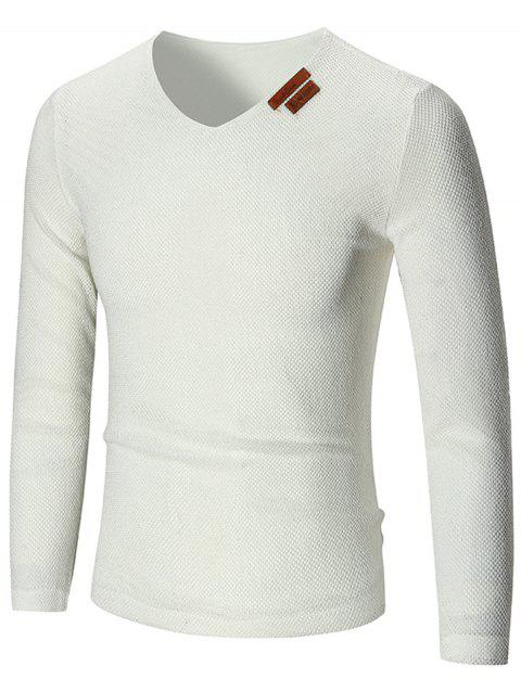 V Neck See Through Pullover Sweater - WHITE 4XL