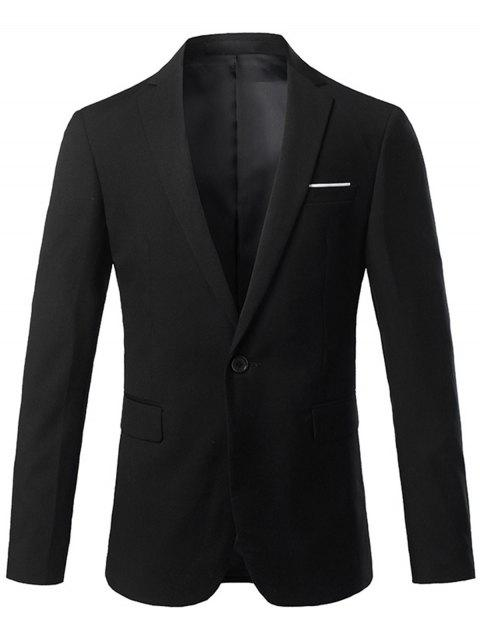 Lapel One Button Casual Blazer - BLACK XL