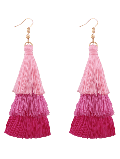 Layered Tassel Hook Drop Earrings - PINK