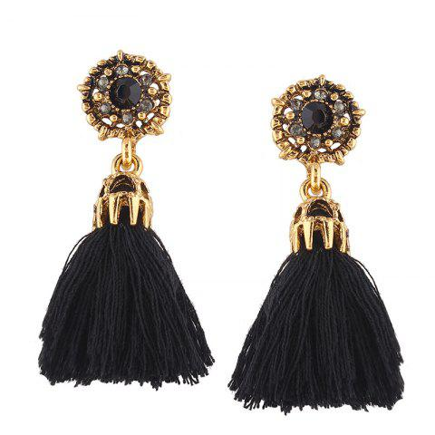Alloy Rhinestone Floral Tassel Earrings - BLACK