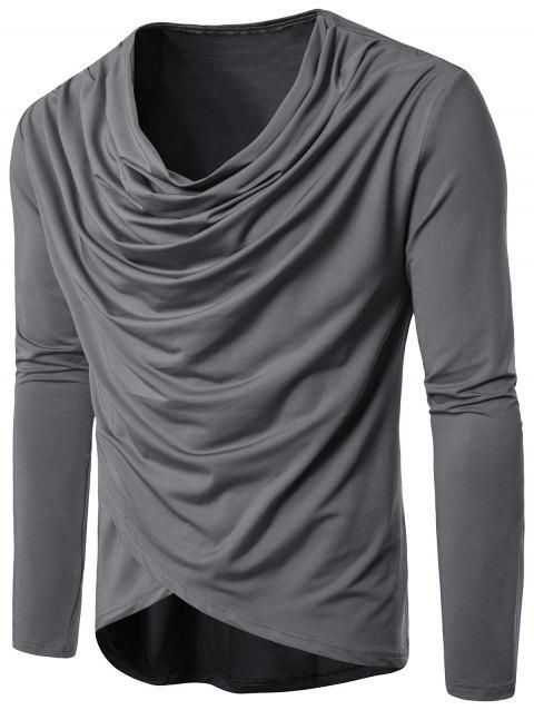 Cowl Neck Pleated Long Sleeve T-shirt - GRAY XL