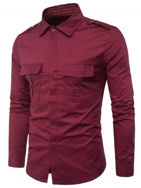 Double Pockets Cover Placket Epaulet Design Cargo Shirt - WINE RED 2XL