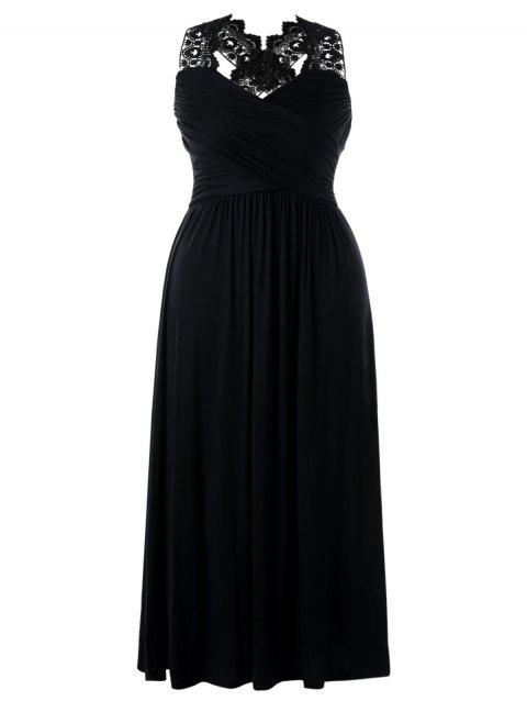 Plus Size Lace Insert Empire Waist Maxi Dress - BLACK 5XL