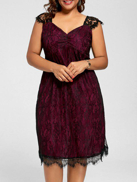 5ff91c548088 41% OFF] 2019 Lace A Line Plus Size Cocktail Dress In WINE RED ...