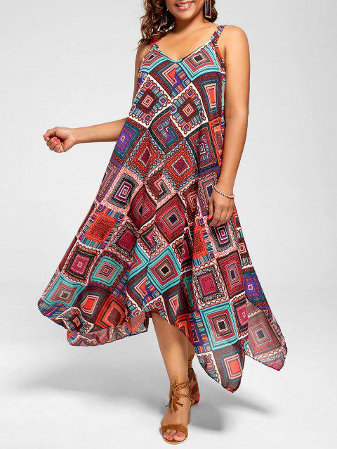 Plus Size Spaghetti Strap Geometric Print Handkerchief Dress - multicolor 2XL