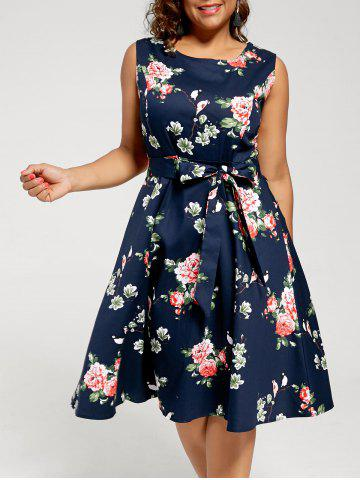 Fl Sleeveless Plus Size Tea Length Dress