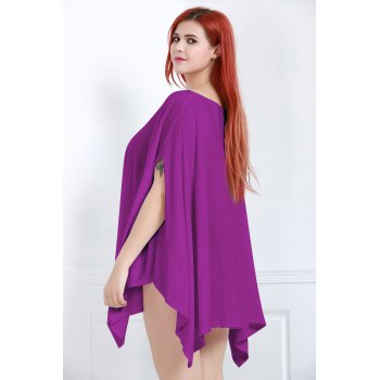 Handkerchief Plus Size Caped Top with Batwing Sleeve - PURPLE PURPLE