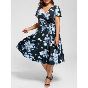V Neck Floral Plus Size Tea Length Dress