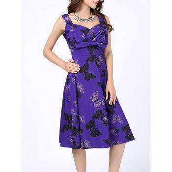 Butterfly Print Sweetheart Neck 50s Dress
