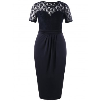 Plus Size Lace Trim Sheer Pencil Dress