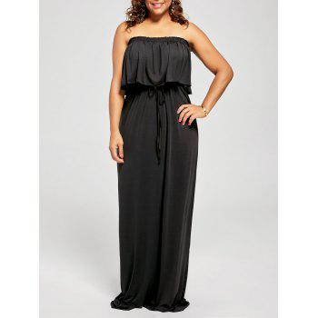 Plus Size Strapless Sleeveless Maxi Prom Dress