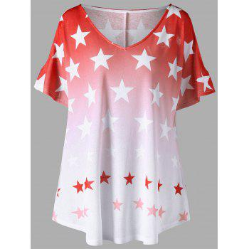Plus Size Ombre Star Print Cold Shoulder Top