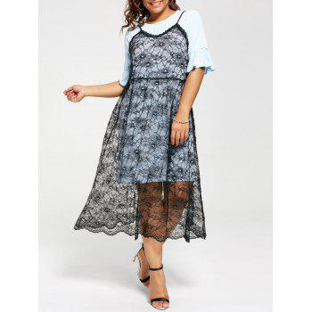 Long Tee with Plus Size Lace Slip Dress