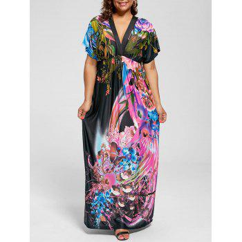 Plunging Neck Printed Plus Size Maxi Dress